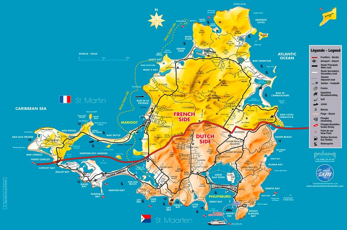 Saint Martin Sint Maarten - Geography - Map Sxm